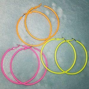 Large Neon Hoop Earrings Set